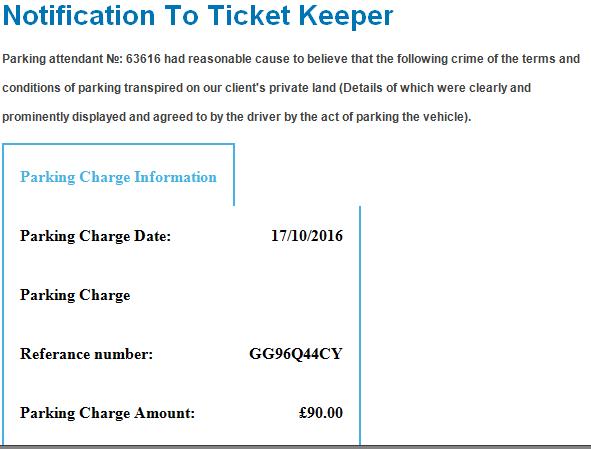 fake parking email